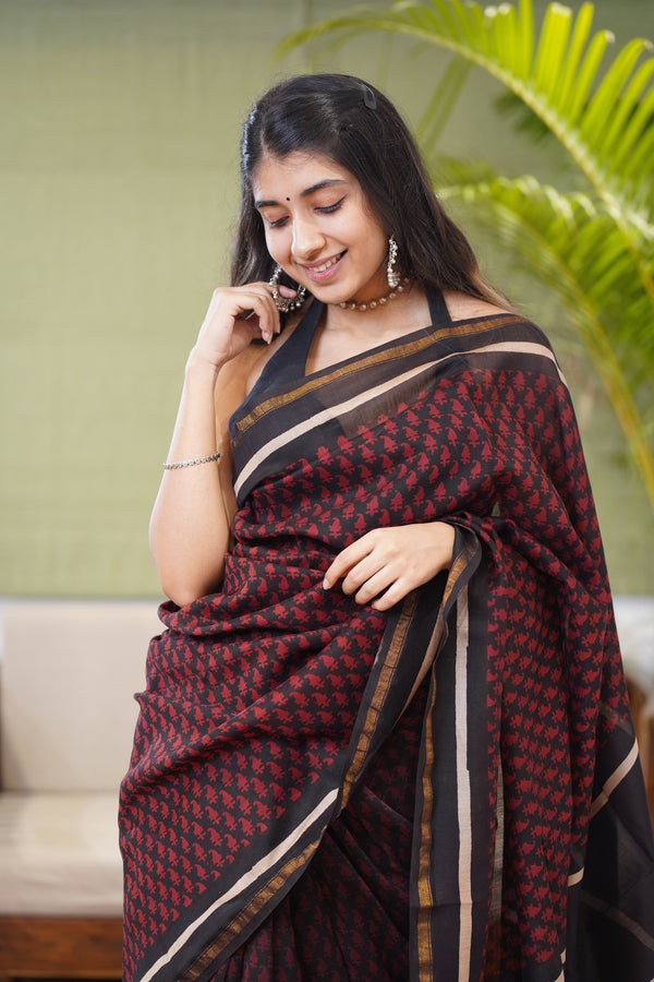 Bagru Handblock Pinted Natural Dyed Saree