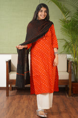 Midnight Orange Butti Bandhej Cotton Dupatta