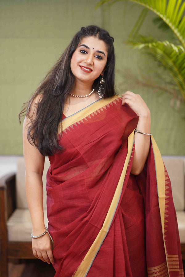 Malkha Handwoven Natural Dyed Cotton Saree