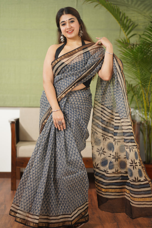 Bagru Kota Doria Natural Dyed Saree
