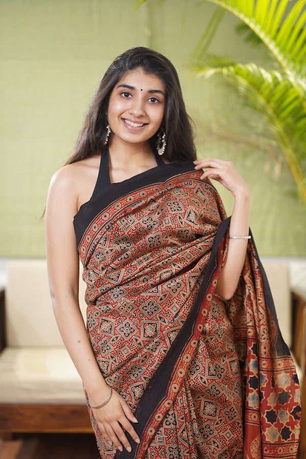 Ajrakh Natural Dyed Chanderi Silk Saree
