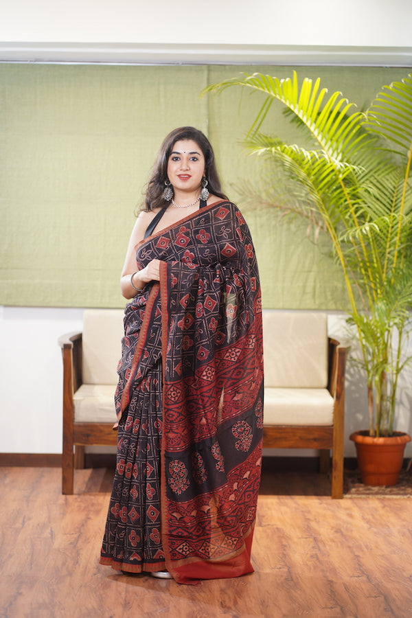 Dabu Chanderi Silk Saree