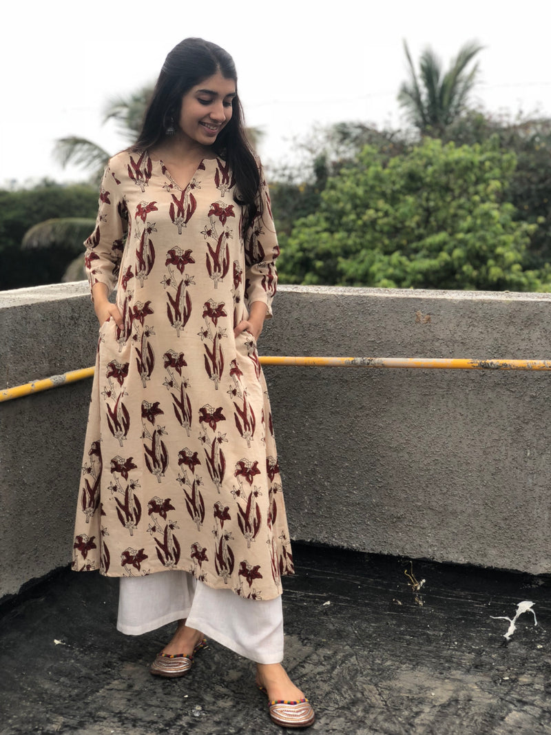 Elita Ivory Blockprinted Kurta
