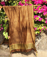 Golden Brown Chanderi Silk Ajrakh Dupatta