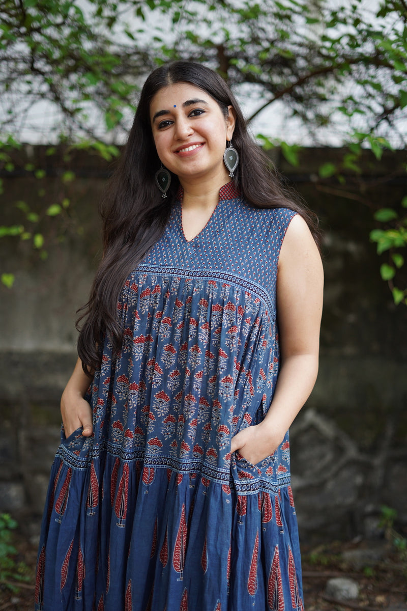 Ruhaani Indigo Ajrakh Pleated Kurta Dress