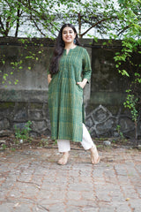 Meher Henna Pleated Cotton Kurta