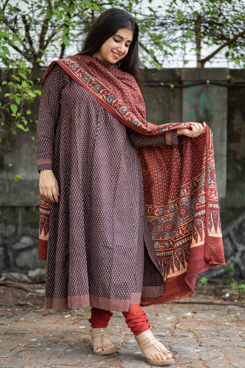 Brakha Threadwork Ajrakh Kalidar Kurta 3 Pc Set