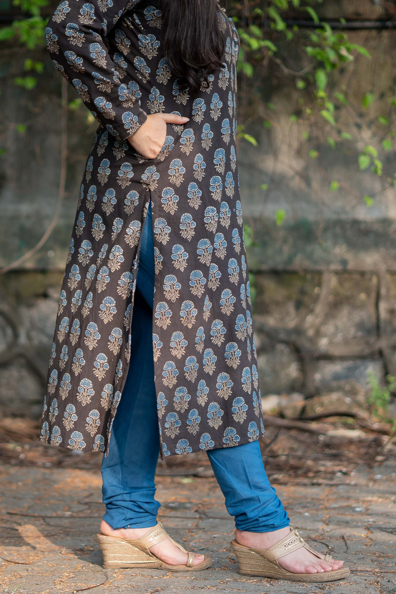 Mul Cotton Natural Dyed Indigo Chudidar