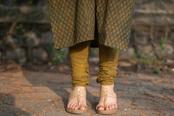 Mustard Henna Ajrakh Cotton Chudidar Natural Dyed