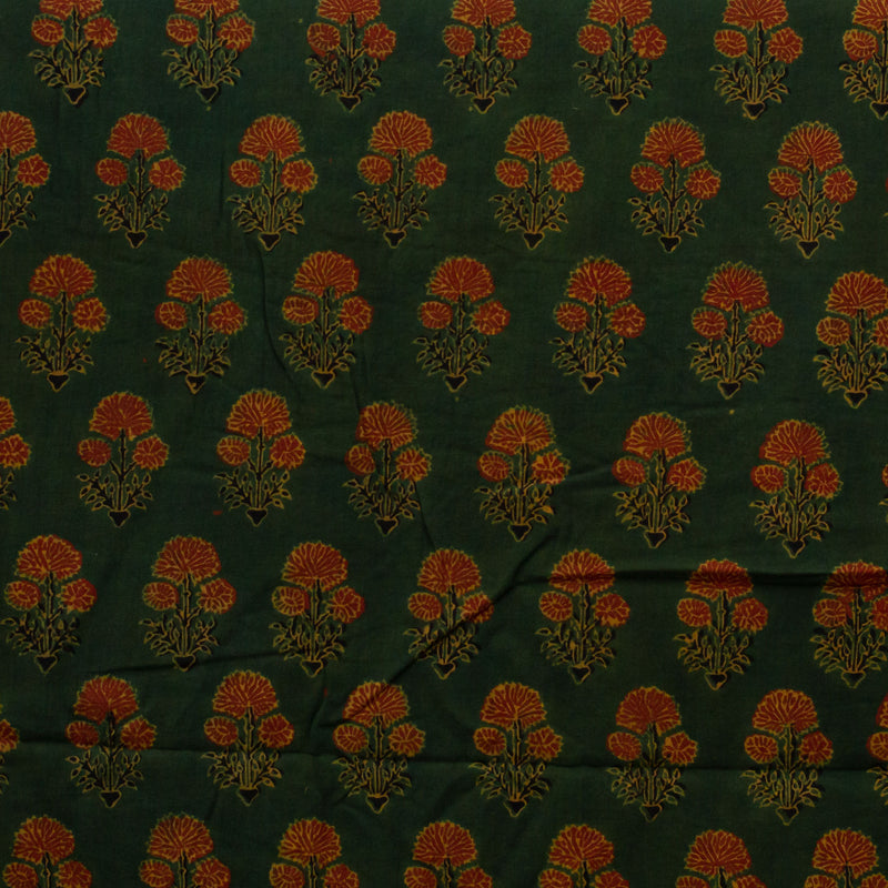 Green Ajrakh Dahlia Cotton Fabric