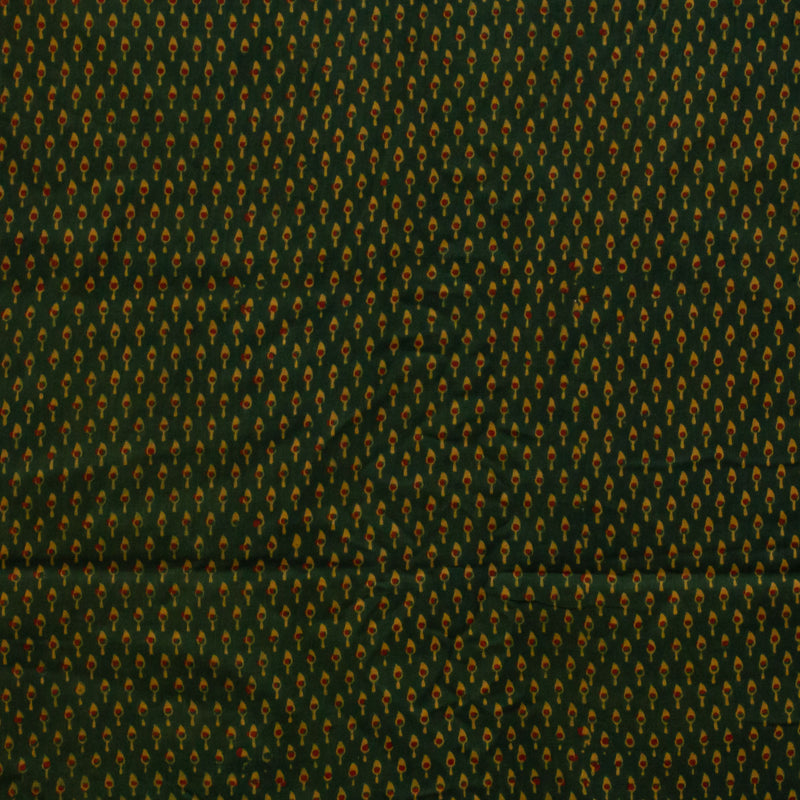 Green Small Leaf Ajrakh Cotton Fabric