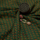 Green Flower Ajrakh Cotton Fabric