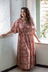 Amaira Block Printed Cotton Kaftan