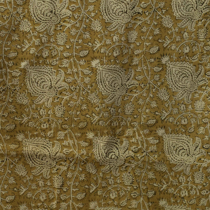 Natural Dye Yellow Kalamkari Block Print Fabric