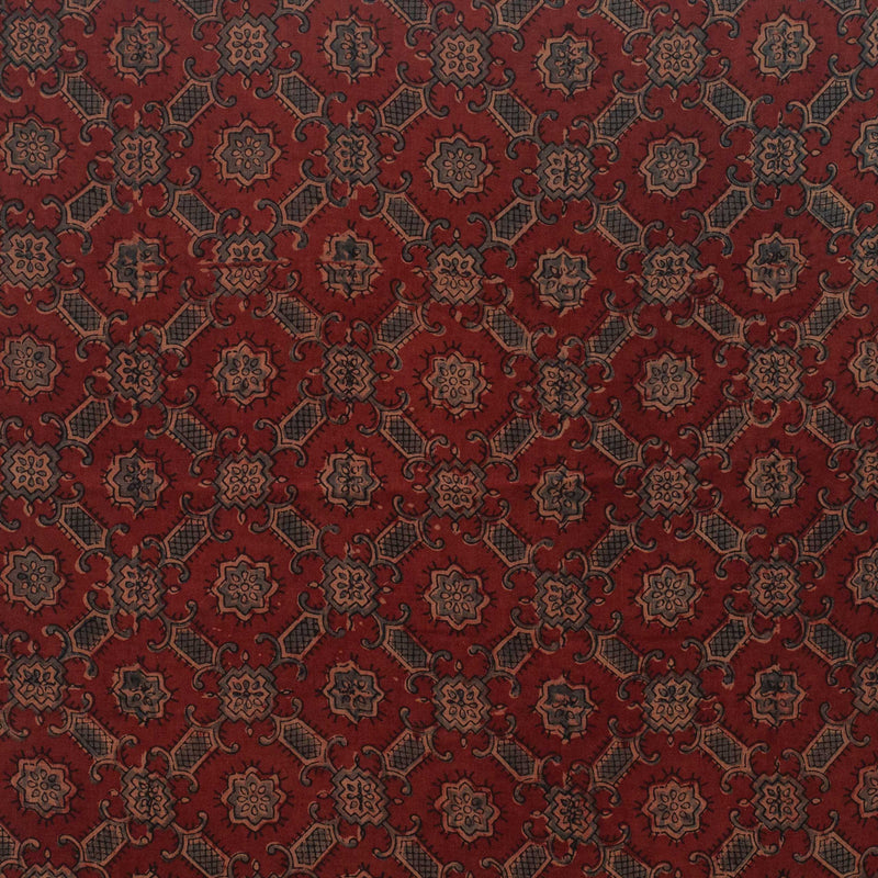 Natural Dyed Ajrakh Patola Mul Cotton Fabric