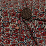 Natural Dyed Red - Blue Jal Hand Block Print Ajrakh Cotton Fabric