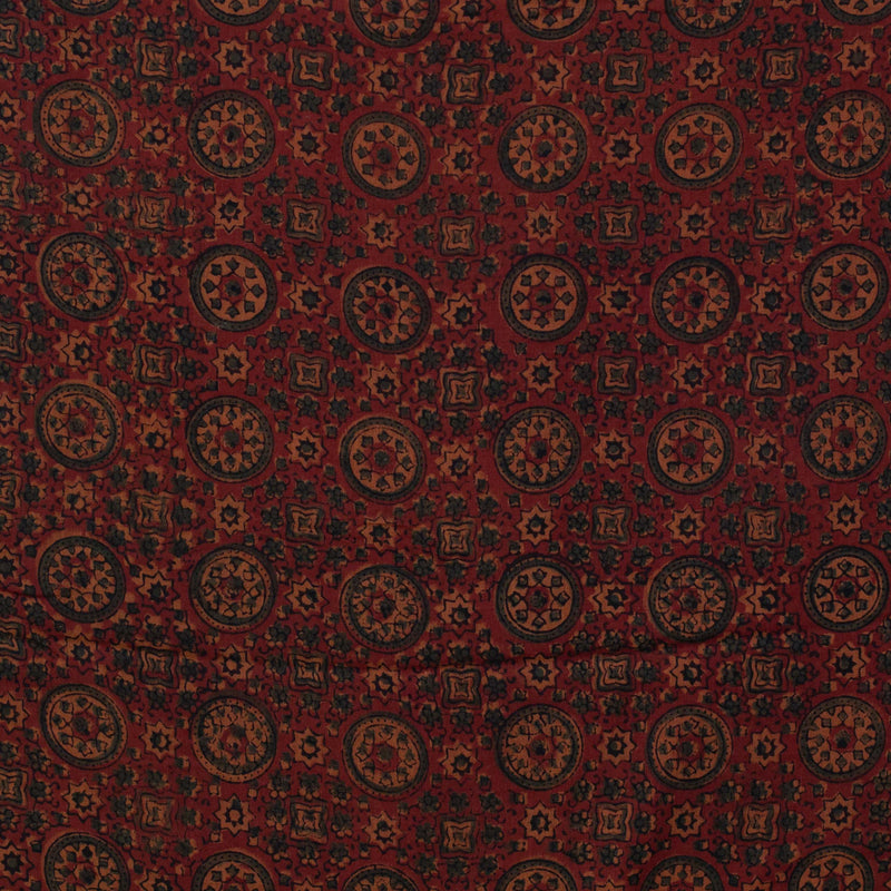 Natural Dyed Red Ajrakh Traditional Mul Cotton Fabric