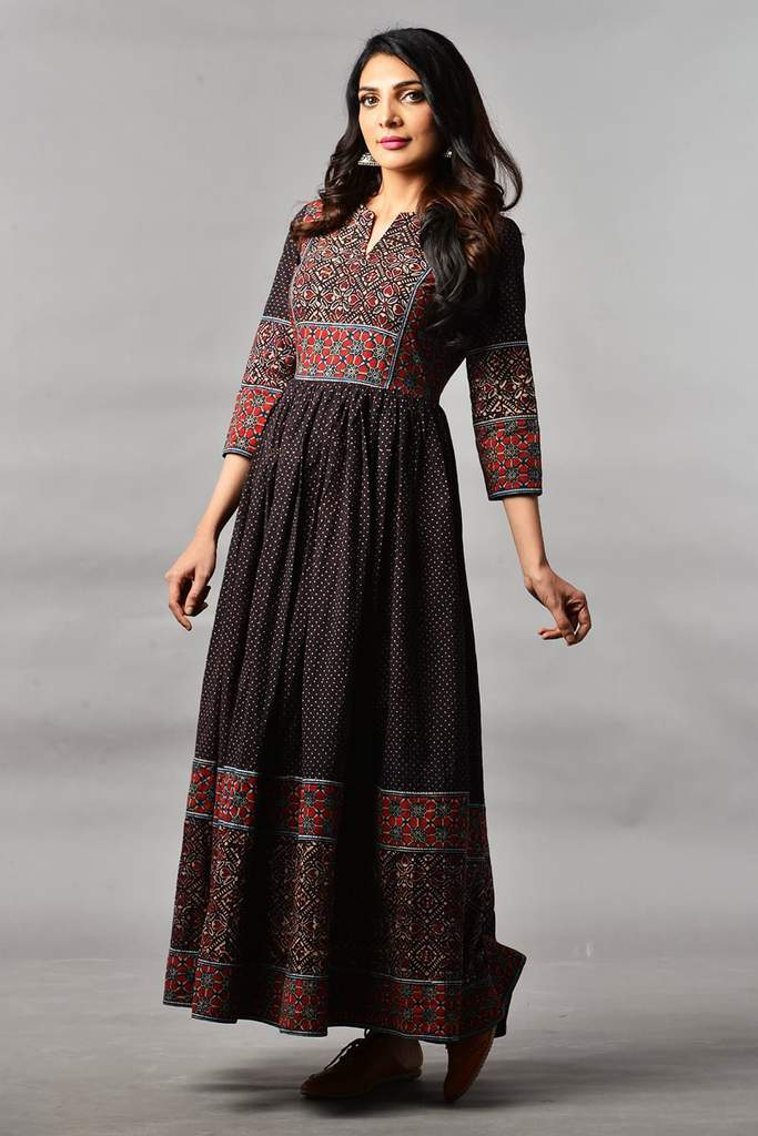 Majestic Black Madder Ajrakh Dress