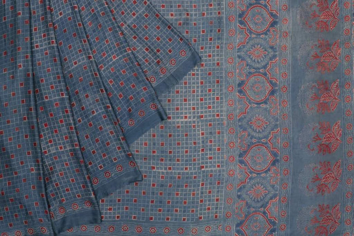 Ajrakh Checked Gajji Silk Saree