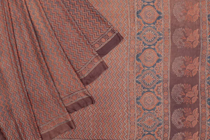 Ajrakh Gajji Silk Orange Print Work Saree