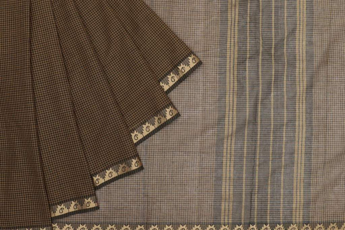 Green Checked Handloom Cotton Saree