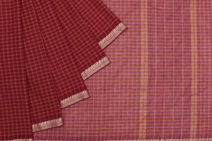 Red Handloom Cotton Checked Saree