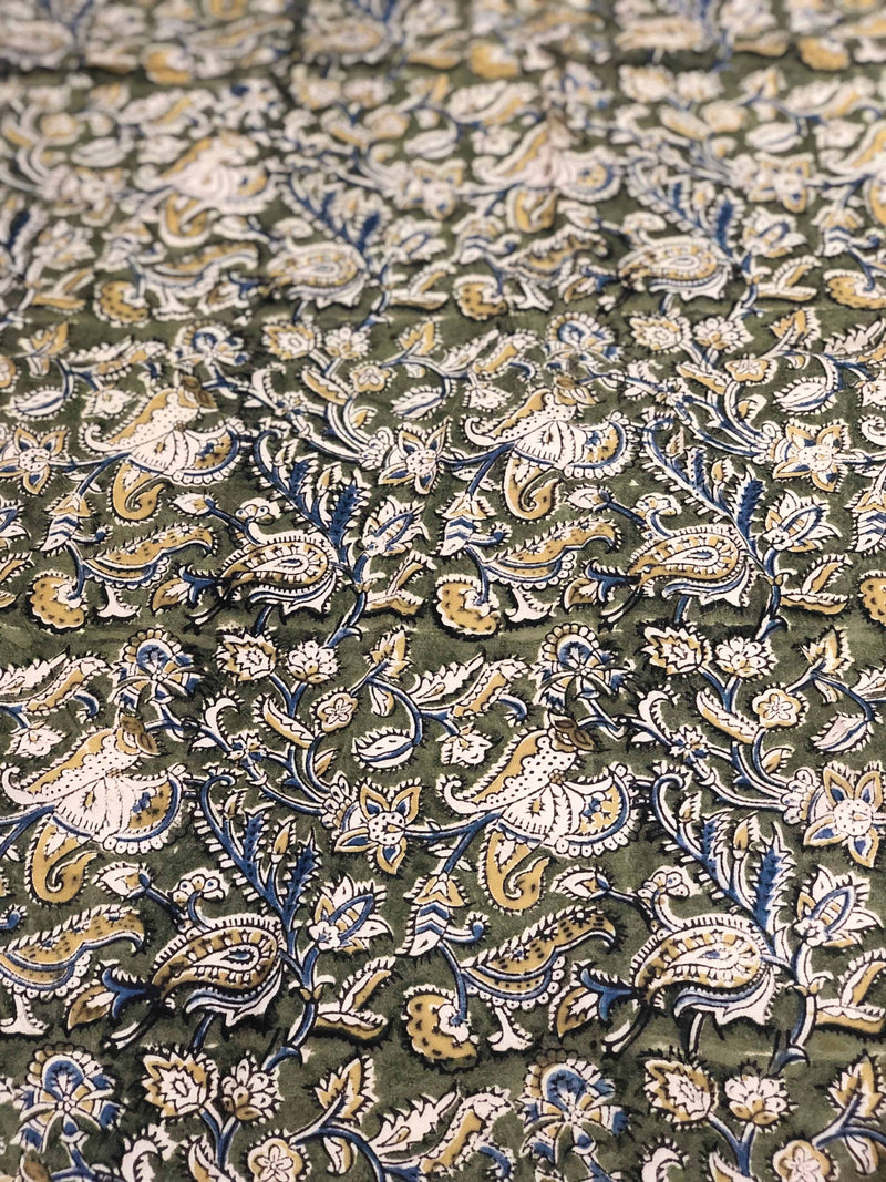 Green Kalamkari Block Print Fabric( 0.75m)