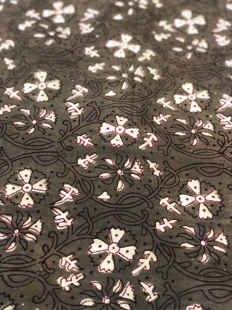 Green Floral Block Print Fabric (2.70m)