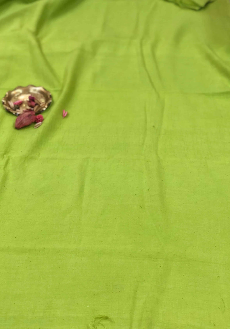 Parrot Green Handwoven Fabric