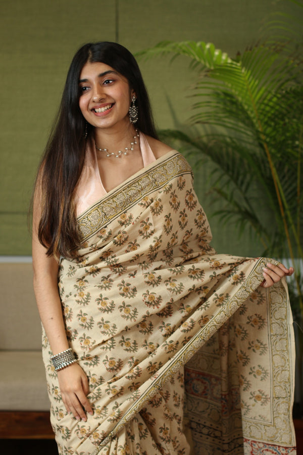 Kalamkari Mul Cotton Natural Dyed Saree