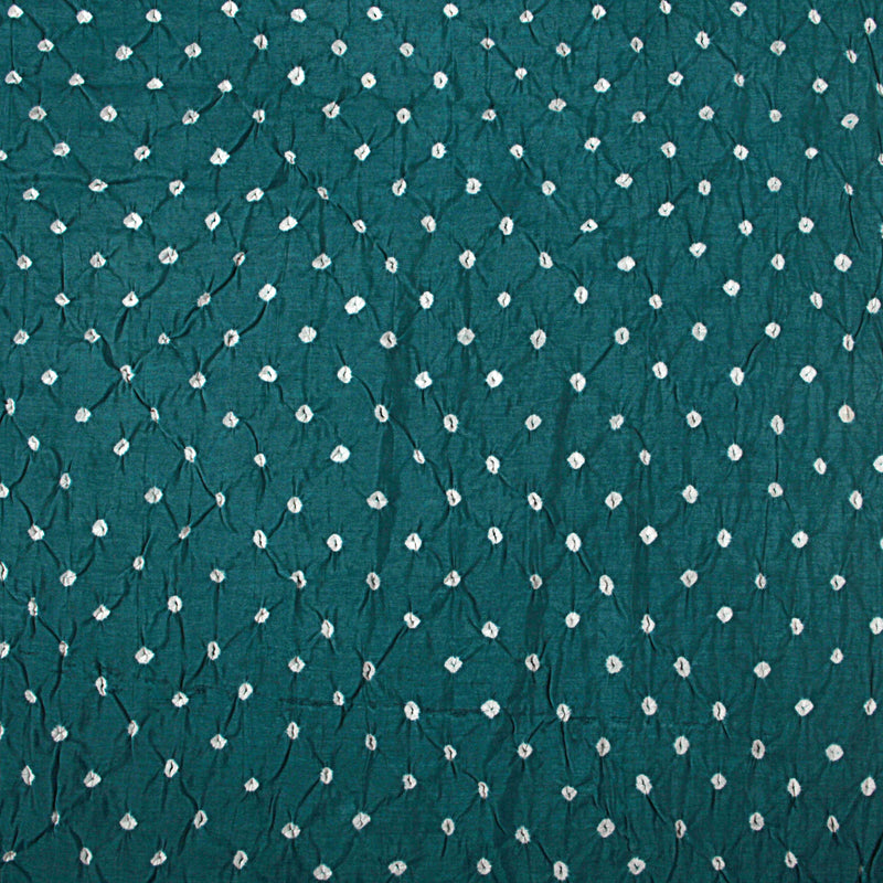Green Bandhej Chanderi Silk Fabric (3 meters)