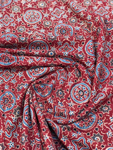 Red Ajrakh Handblock print Fabric