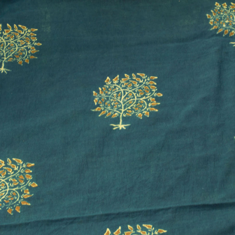 Ajrakh Henna Mustard Tree Cotton Fabric