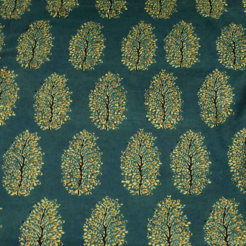Ajrakh Henna Mustard Floral Bunch Cotton Fabric