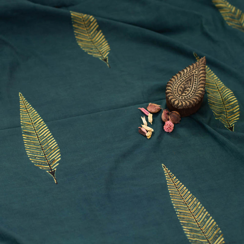 Ajrakh Henna Mustard Leaf Cotton Fabric