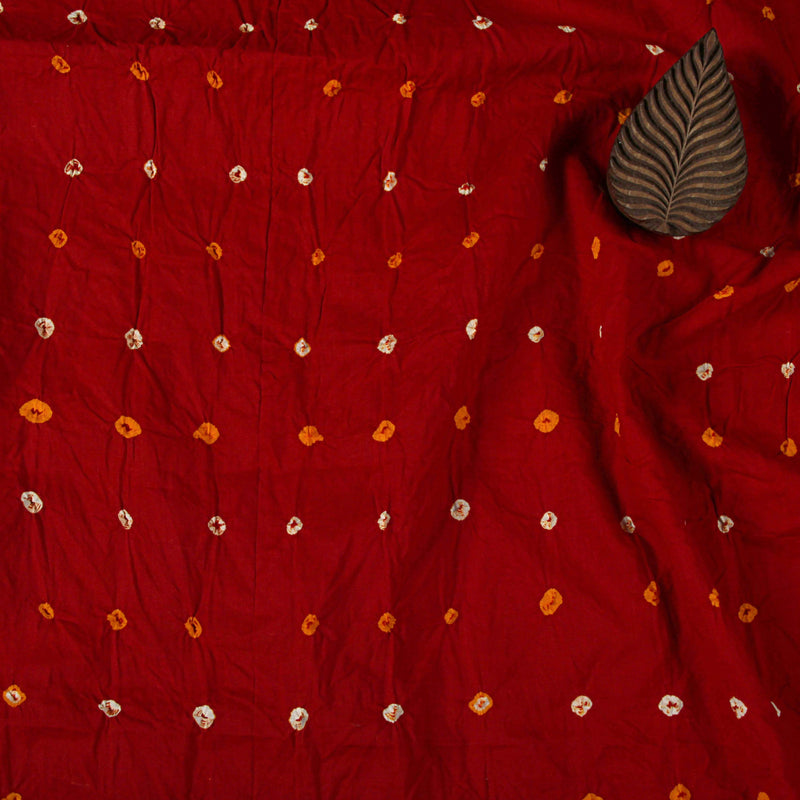 Red Bandhej Cotton Fabric (2.5 meters)