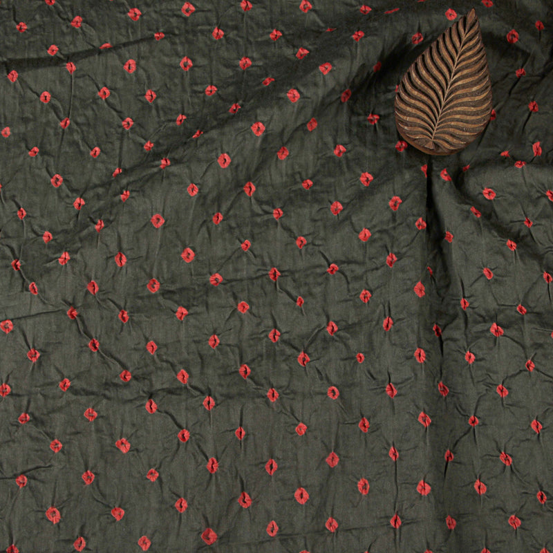 Grey And Pink Dots Bandhej Cotton Fabric (2.5 meters)