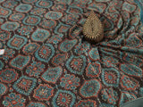 Brown Ajrakh Mul Cotton Natural Dyed Fabric