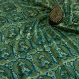 Green Ajrakh Mul Cotton Natural Dyed Fabric