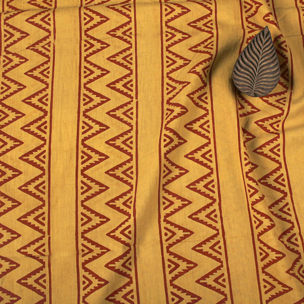 Natural Dye Yellow with Red Zigzag Hand Block Print Fabric
