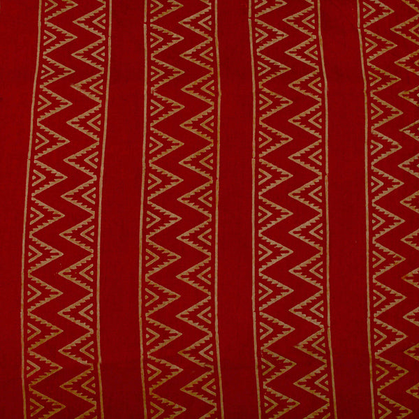 Natural Dye Red Zigzag Hand Block Print Fabric
