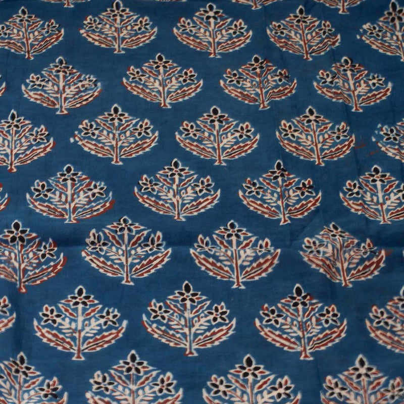 Ajrakh Indigo Jasmine Cotton Fabric