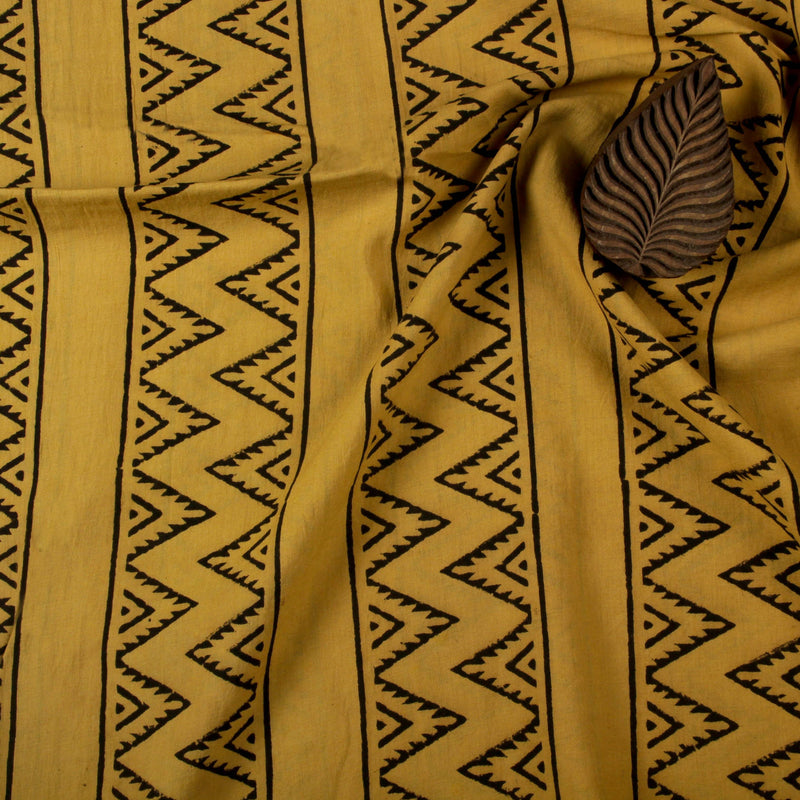 Natural Dye Yellow Zigzag Hand Block Print Fabric