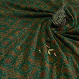 Green & Yellow Ajrakh Mul Cotton Natural Dyed Fabric