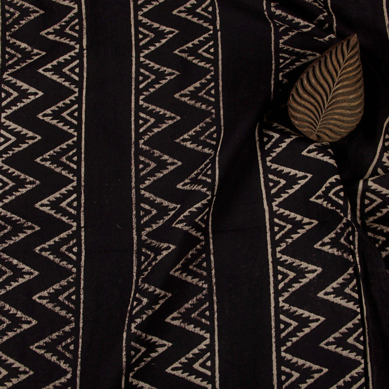 Natural Dye Chocolate Brown Zigzag Hand Block Print Fabric