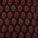 Natural Dyed Brown Dahlia Ajrakh Cotton Fabric