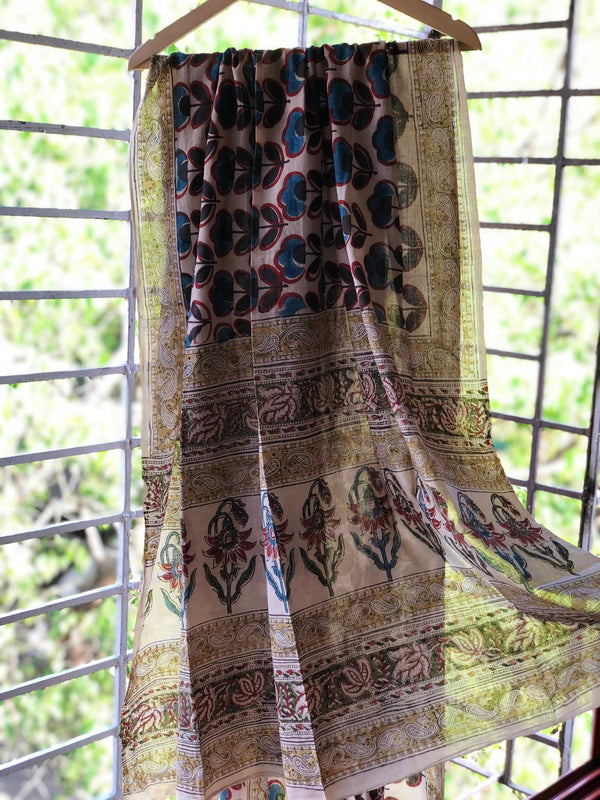 Ivory Indigo Flower Mul Cotton Dupatta