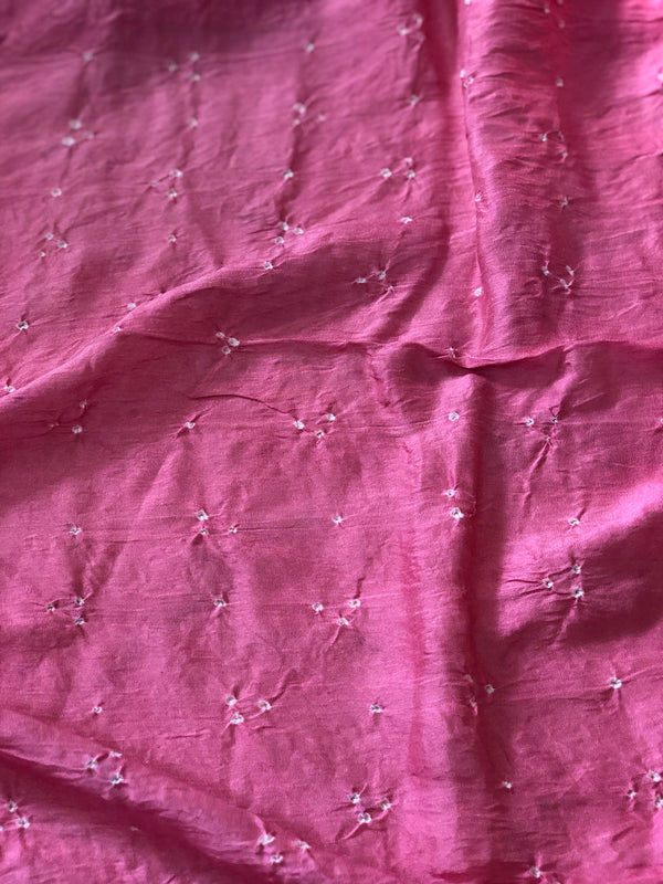 Chanderi Rose Pink Bandhej Fabric