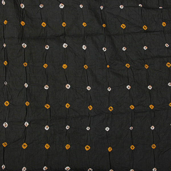 Black And Orange - White Bandhej Cotton Fabric (2.5 meters)