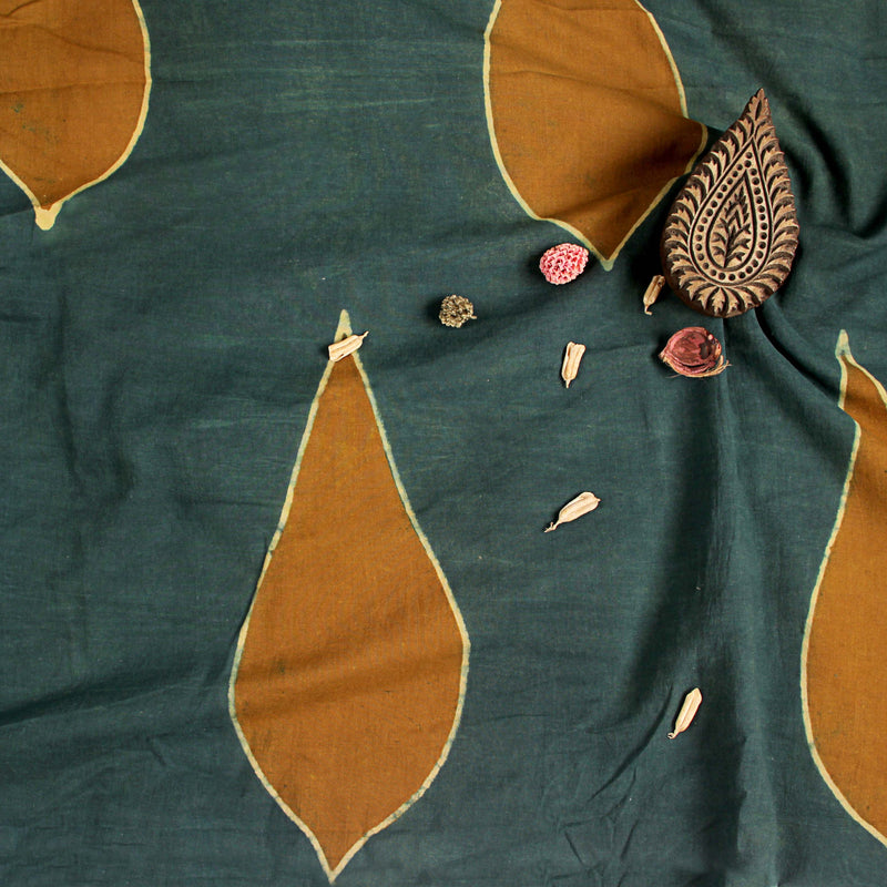 Natural Dyed Dark Green Leaf Ajrakh Cotton Fabric